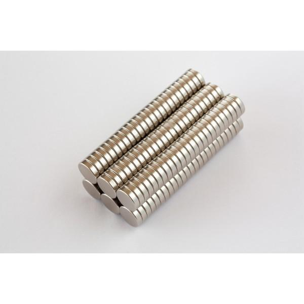 Neodymium disc magnet 8x2mm, N45, Ni-Cu-Ni, Nickel coated - Disc