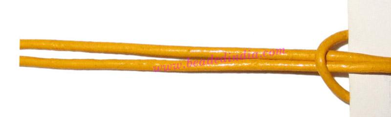 Leather Cords 0.5mm (half mm) round, regular color - yellow. - Leather Cords 0.5mm (half mm) round, regular color - yellow.