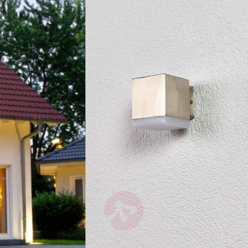 Cubic stainless steel LED outdoor wall light Hedda - outdoor-led-lights