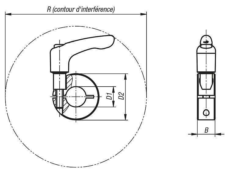 Bagues d'arrêt fendues avec manette indexable - Éléments de liaison