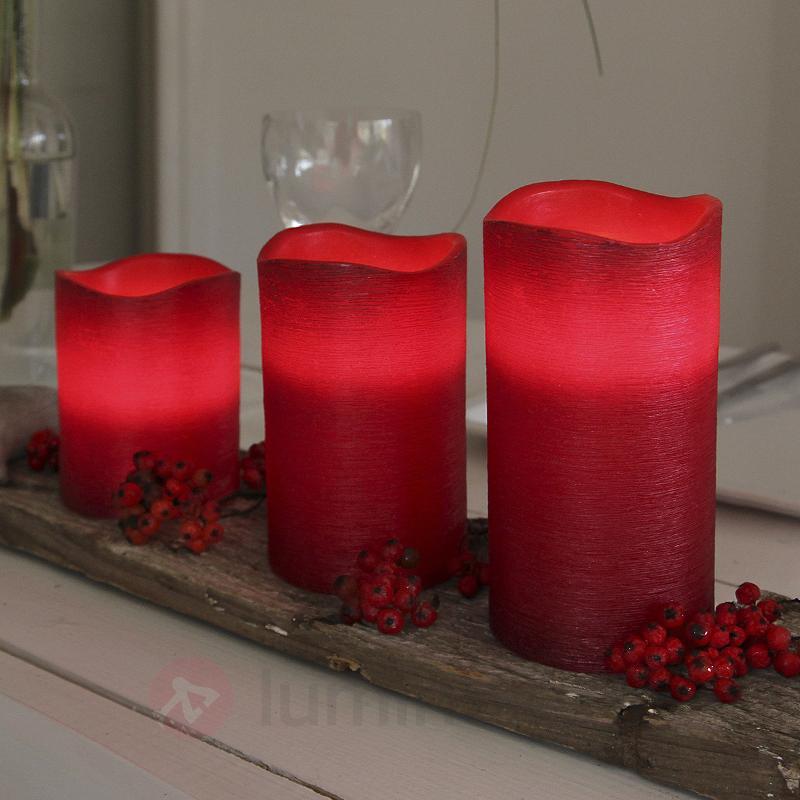 Bougie LED Linda en cire rouge 12,5 cm - Bougies LED