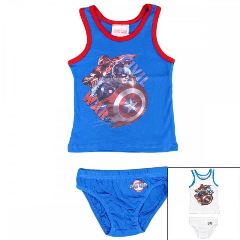 12x Ensembles 2 pieces Captain America du 2 au 8 ans - Sous-vêtement