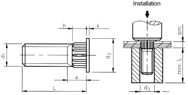 Self-clinching fasteners - PEM® - Broaching studs for plastics