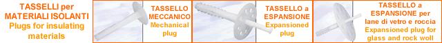 Tasselli per materiali isolanti - Tassello meccanico - Testa : 35 mm