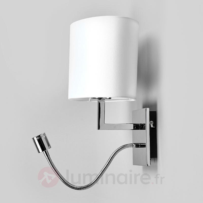 applique en tissu blanc karla avec liseuse led appliques en tissu luminaire fr allemagne. Black Bedroom Furniture Sets. Home Design Ideas