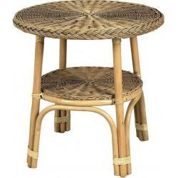 Table tissée moelle de rotin patiné - Mobilier en rotin