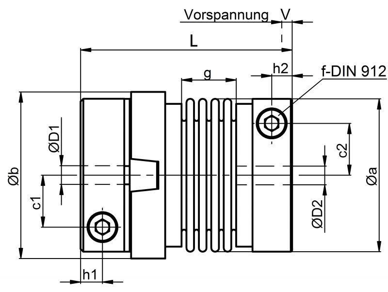 Metal bellows couplings KPP - Metal bellows coupling KPP, hub variant with backlash free nose groove principle