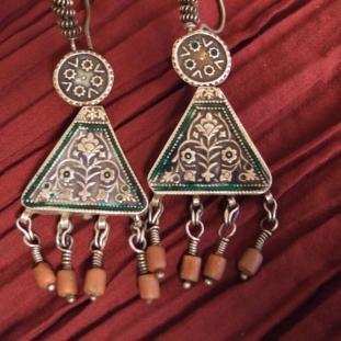 Boucles d'oreilles - Argent, émail, Inde