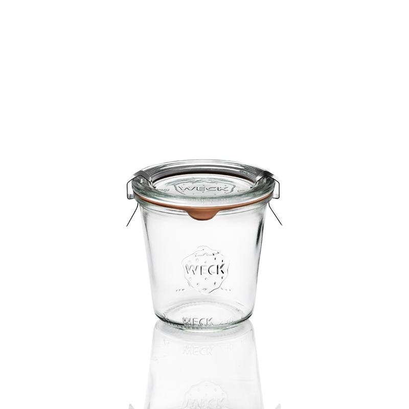WECK® STORT Glazen - 6 glazen in glas Weck® Recht 290 Hoge ml doorsnede 80 mm, met deksels in glas