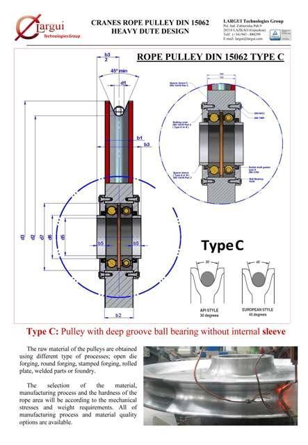 Poleas Cable Grúa / Crane Rope Sheaves - Poleas DIN 15062 Tipo C y otros diseños