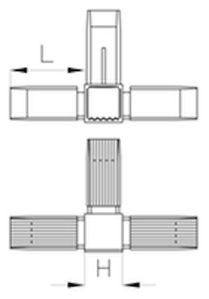 Raccord pour tubes carrés THCCU  - Catalogue > Raccords pour tubes > Raccords pour tubes carrés > Raccord THCCU