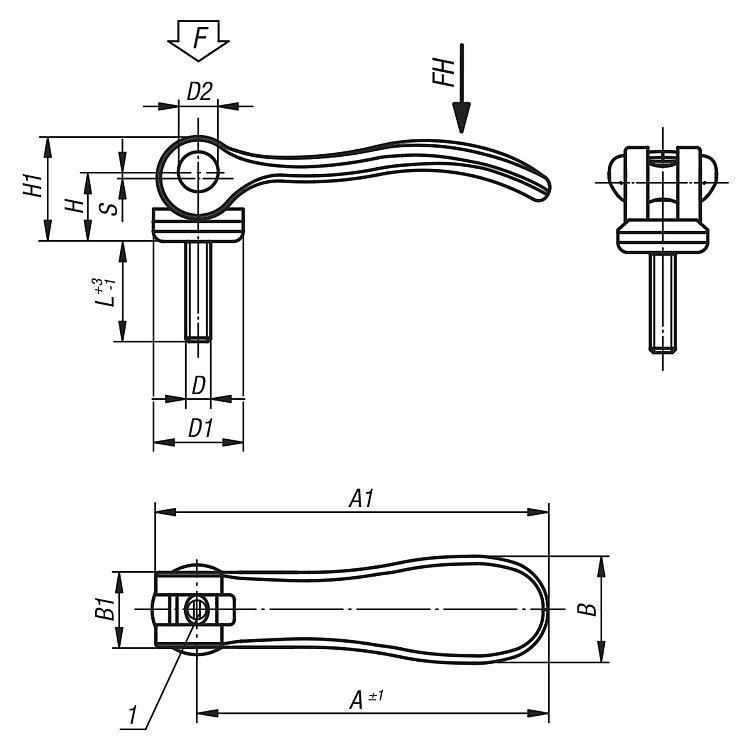 Levier à serrage rapide réglable en acier avec filetage - Serrages à came