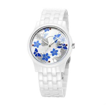 ceramic watch GCC-XXL822 with flower in Ireland -  OEM Anti-scratch ceramic analog watches, 3ATM water resistant in China