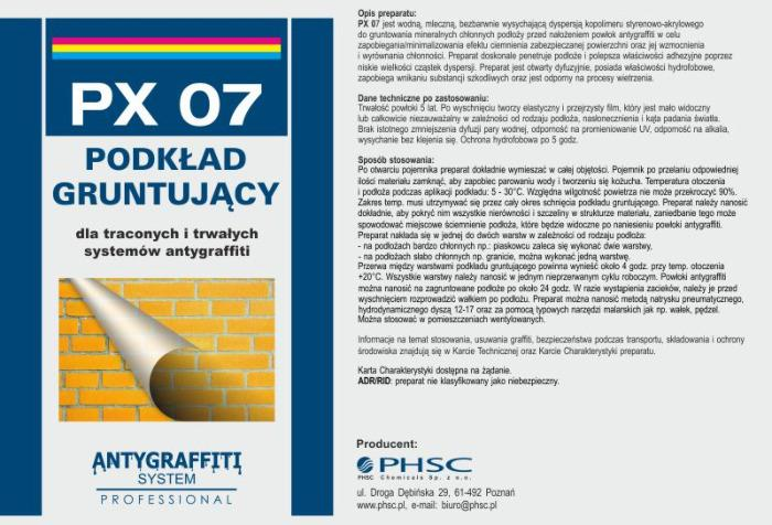 PX 07 Podkład Gruntujący  - dla powłok antygraffiti