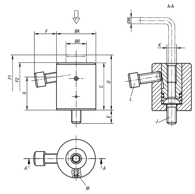Support cylindrique - Éléments d'appui et de support