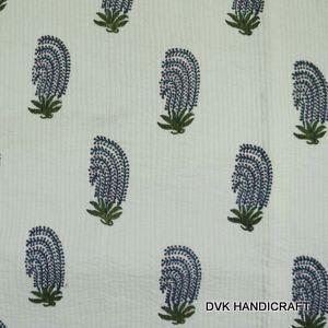 Hand block printed cotton quilt - Block printed soft light weight cotton quilt, india cotton quilt