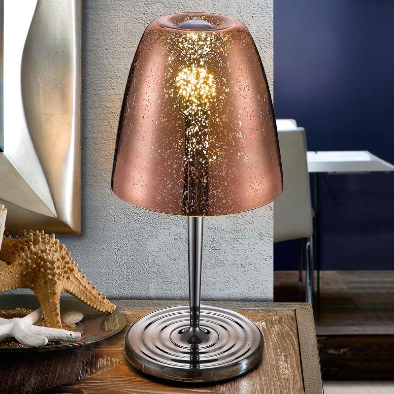 Verre finition cuivrée - lampe à poser Quasar - Lampes de chevet