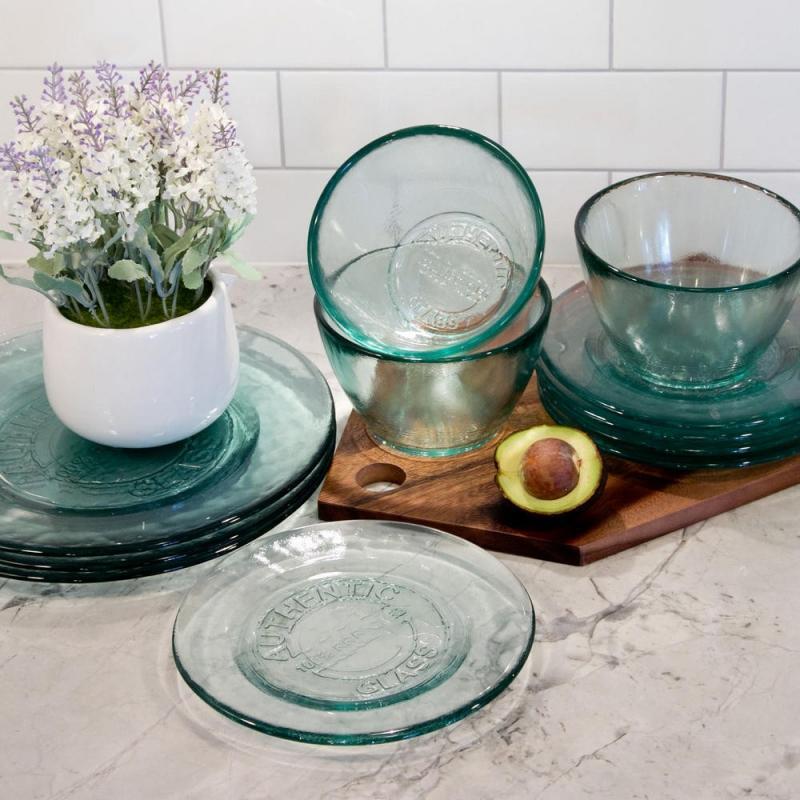Lot de 2 Assiettes 20 cm, assiettes à dessert en verre recyclé - Vaisselle de Table