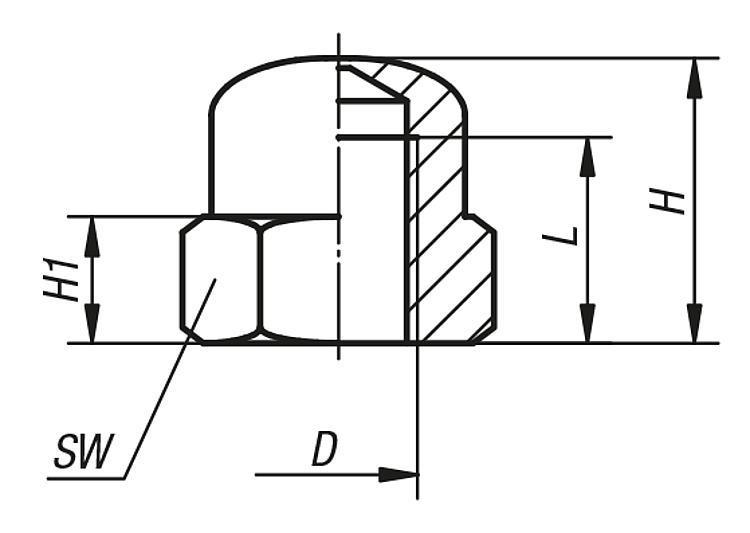 Écrou borgne similaire DIN 1587 - Éléments de liaison