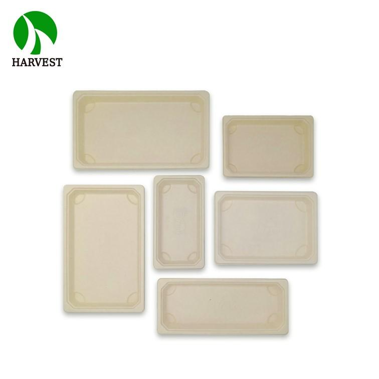 Highquality Take Out Disposable Pack Sushi Bagasse Plate Tray With Lid - Green Collection