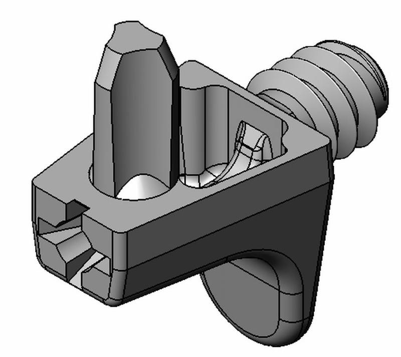 Bodenträger Kastenform - Zamak - 2 Zapfen, mit Gew. - - Bodenträger Zn 2 Zapfen