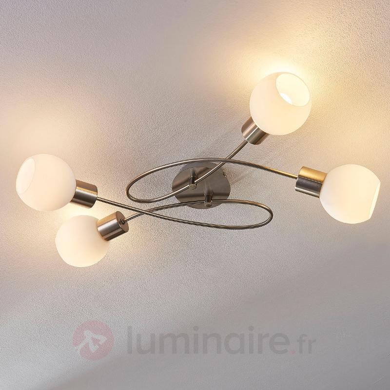 Plafonnier LED Hailey à 4 lampes, nickel - Plafonniers LED
