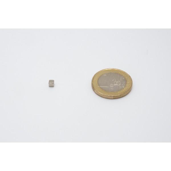 Cube magnet 3mm, Neodymium, N45, Ni-Cu-Ni, Nickel coated - null