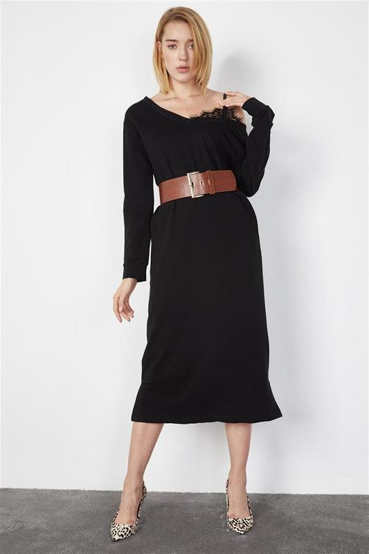 Women Black Shoulder Lace Midi Dress Length - Casual Dress