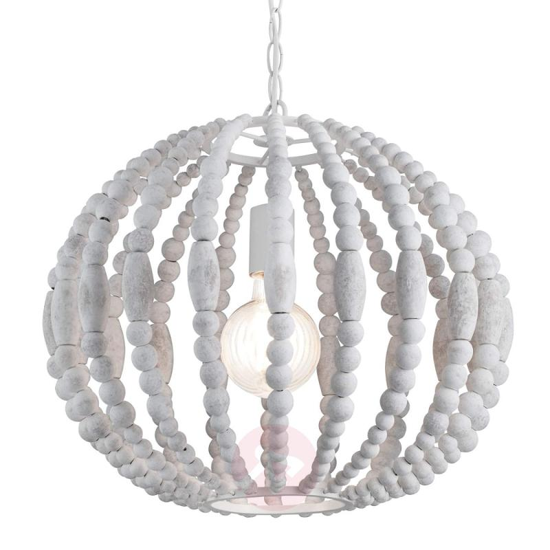 Round Washed white pendant lamp in white - indoor-lighting