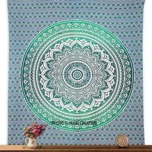 Bohemian turquoise ombre tapestry