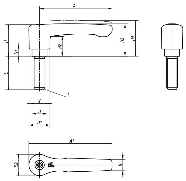 Manette indexable droite avec insert fileté - Leviers de blocage, manettes indexables