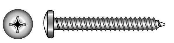 Linsen-Blechschrauben (Form C mit Spitze) - Material A2 | A4