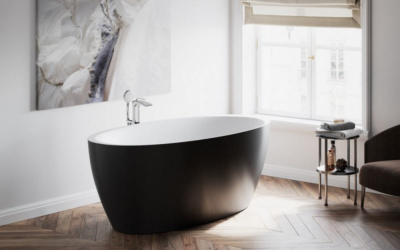 Sensuality Каменная Ванна  - Отдельностоящая, черно-белая, овальная, 177 x 89 x 65 см