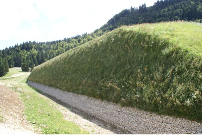 Green or mineral steep slopes - Wire mesh faced with geosynthetic retaining strips with mineral or green finish
