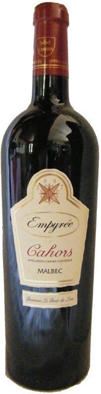 Vin complexe multiples arômes - AOC Cahors - Charte Qualité - Élevé en fûts neufs - Empyrée