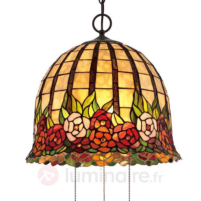 Suspension Tiffany Rosecliff au design floral - Suspensions style Tiffany