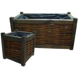 Jardinière en bois et osier brut - Extérieur