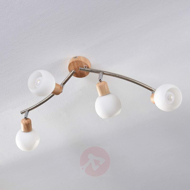4-bulb LED ceiling lamp Svenka with wood effect - indoor-lighting