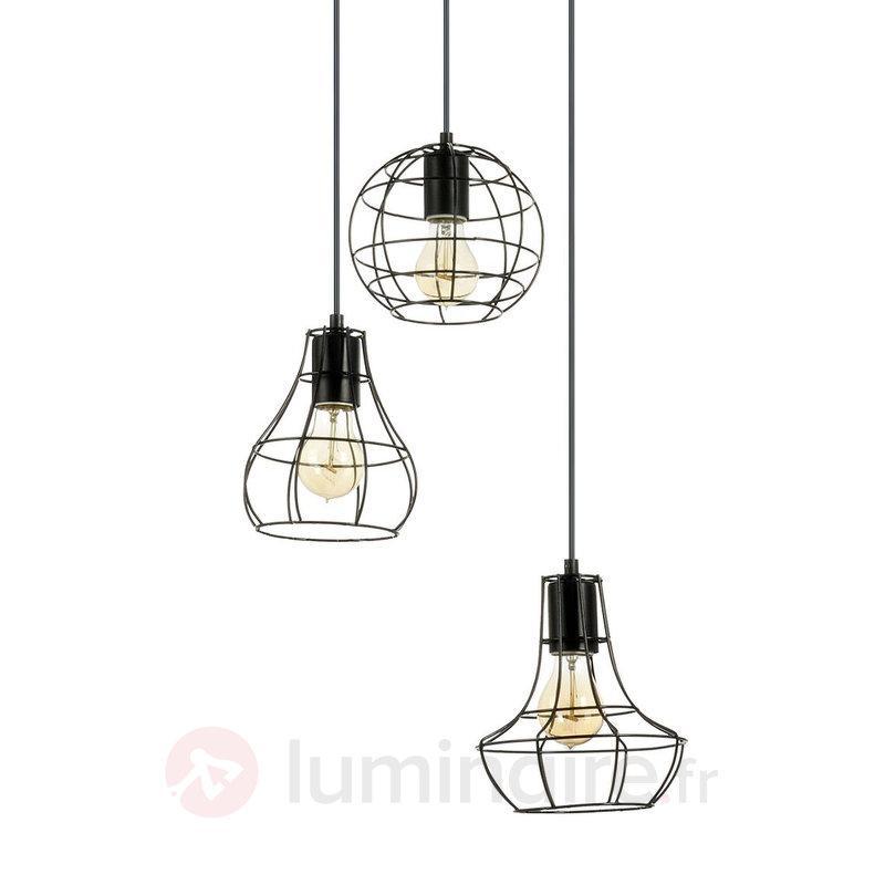 suspension 3 lampes industriel attractive lampe. Black Bedroom Furniture Sets. Home Design Ideas