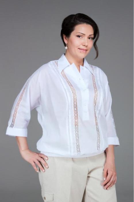 Cotton blouse  with lace decoration - Unique design.