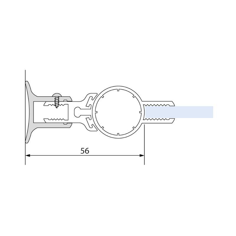 Lift- / Lowering bar aluminium, anodized gloss - Lifting lowering shower door hinges