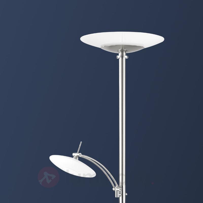 Lampadaire LED New Elina Nickel à deux lampes - Lampadaires LED à éclairage indirect