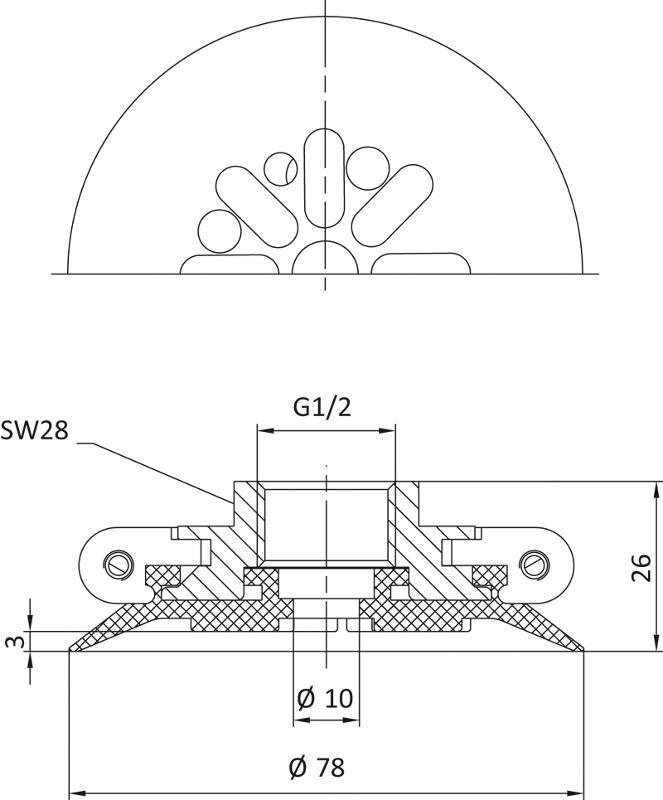 Flachsauger mit fest montiertem Halter - SP-FA - null