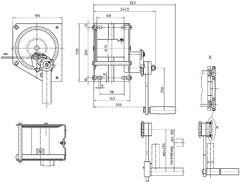 Treuils manuels - Treuil manuel à câble 650kg électro-zingué