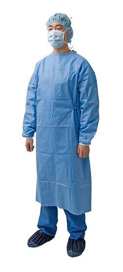 Bata quirúrgica - Material: SMS / SMMS Spec: Puño de punto, velcro en el cuello y corbata en la ci