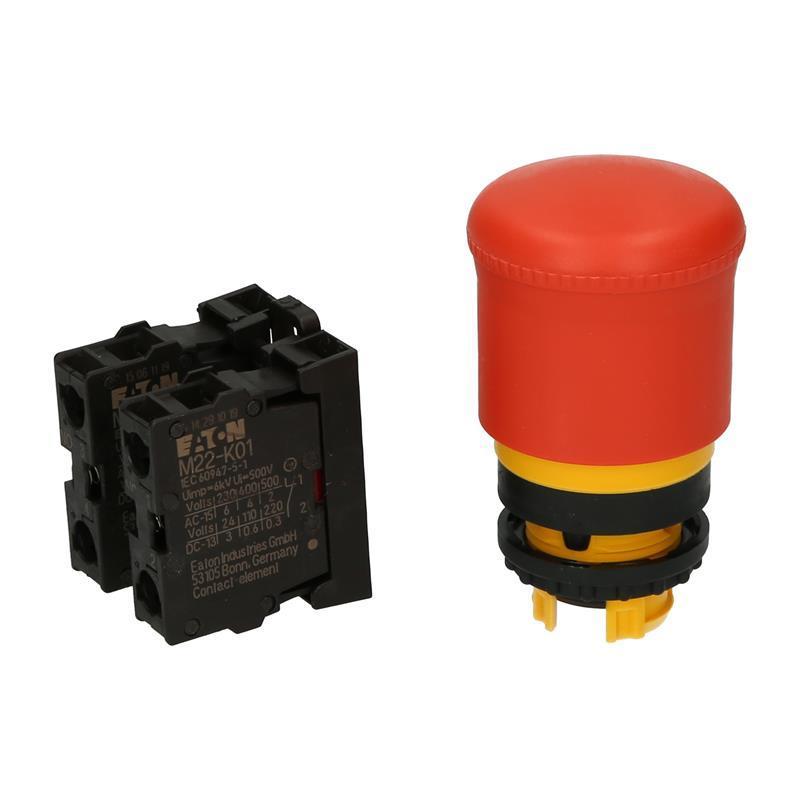 Bouton d'arrêt d'urgence appareil complet Eaton 216516 - M22-PV/K11 - null