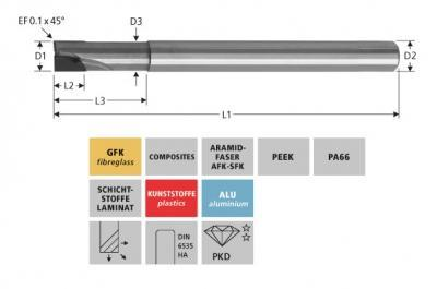 Milling Tools: for GFK/CFK - PCD end mill, Z=2