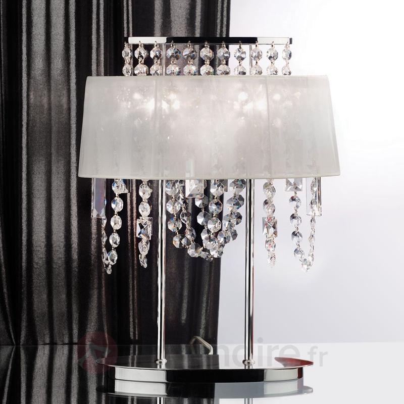 Lampe à poser de cristal avec abat-jour de tissu - Lampes à poser en cristal