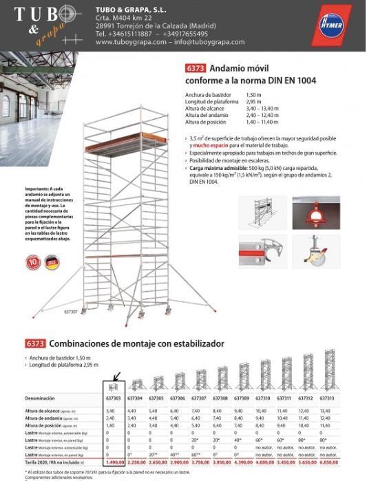 andamio movil de aluminio  - torre movil aluminio, gran area de trabajo 3m x 1,5m