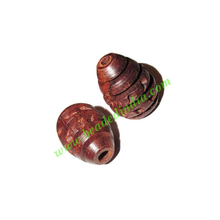 Rosewood Beads, Handcrafted designs, size 14x20mm, weight ap - Rosewood Beads, Handcrafted designs, size 14x20mm, weight approx 2.02 grams